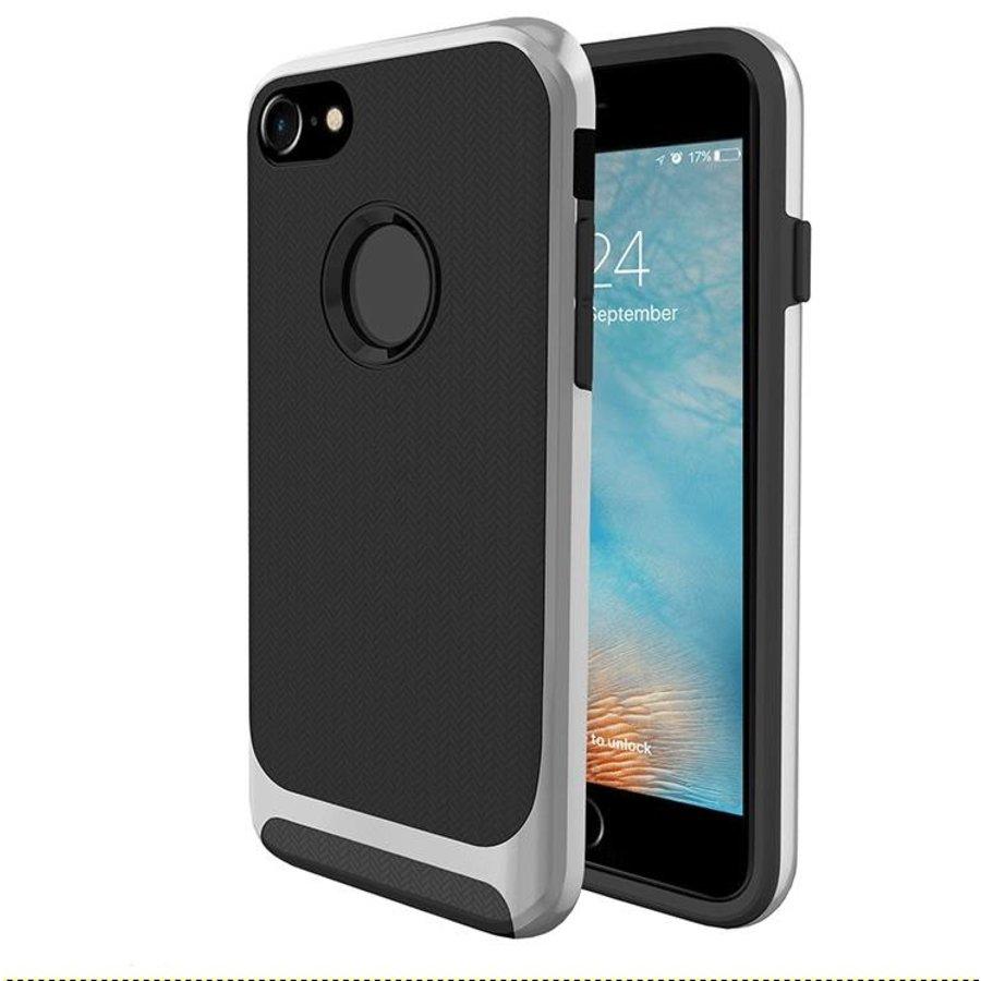 Apple Iphone 8 Slim Carbon hybrid telefoonhoesje - Zilver-1
