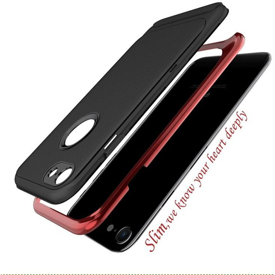 Apple Iphone 8 Slim Carbon hybrid telefoonhoesje - Rood-2