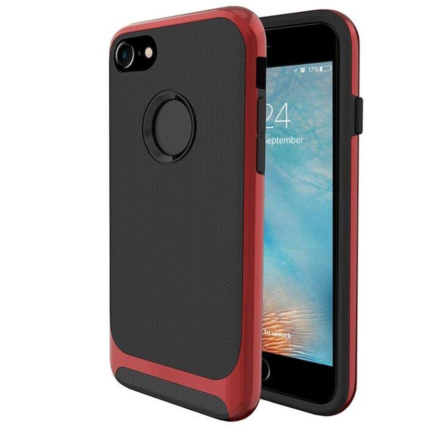 Apple Iphone 8 Slim Carbon hybrid telefoonhoesje - Rood-1