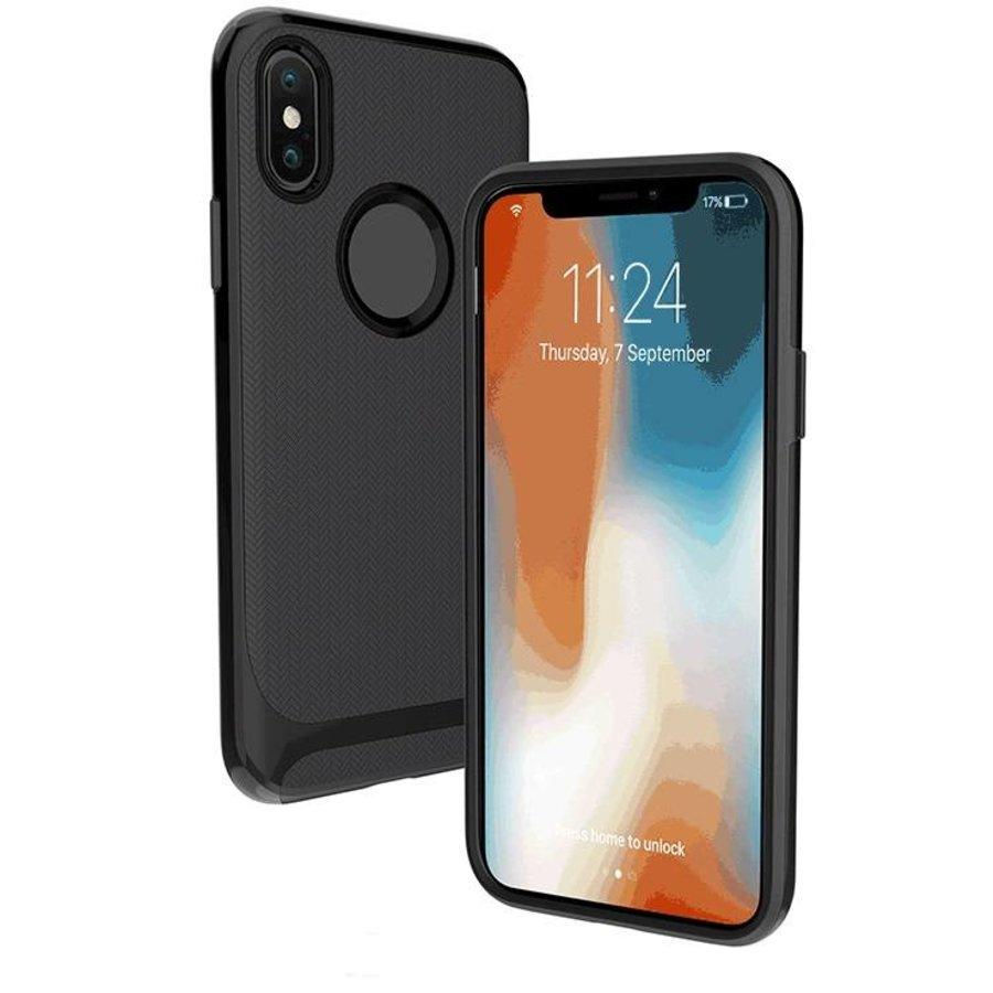 Apple Iphone X Slim Carbon hybrid telefoonhoesje - Zwart-1