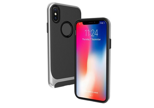 Apple Iphone X Slim Carbon Hybrid telefoonhoesje - Zilver
