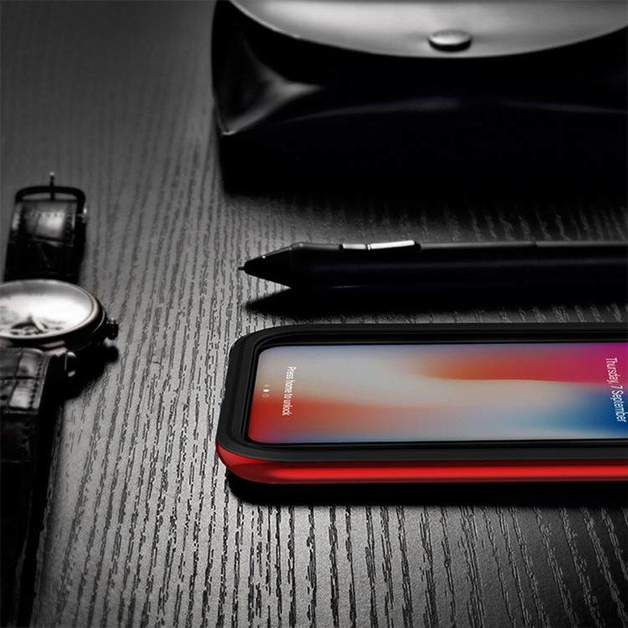 Apple Iphone X Slim Carbon Hybrid telefoonhoesje - Rood-3