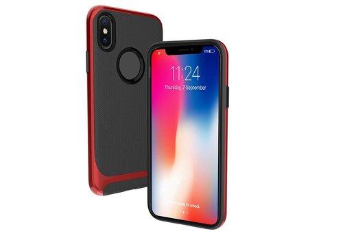 Apple Iphone X Slim Carbon Hybrid telefoonhoesje - Rood