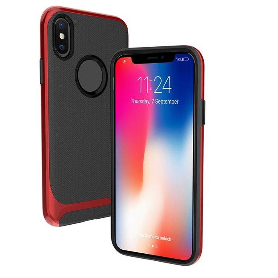Apple Iphone X Slim Carbon Hybrid telefoonhoesje - Rood-1