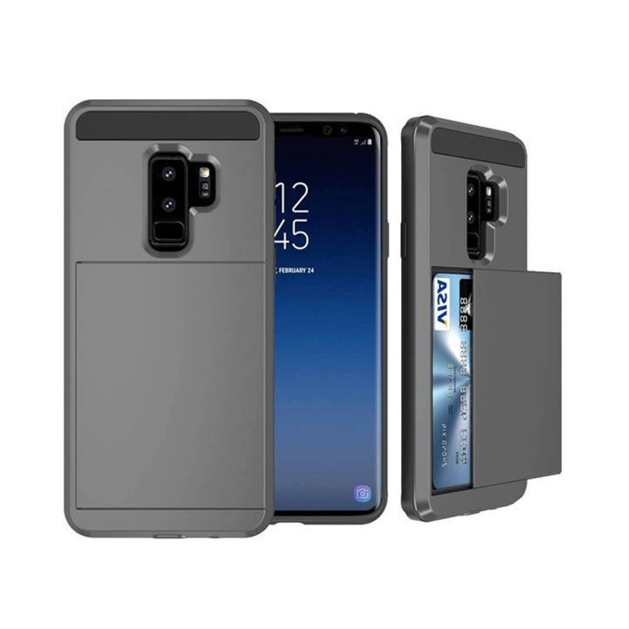 Samsung S9 Hybrid telefoonhoesje kaarthouder - Grijs-1