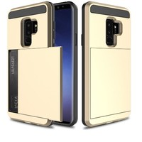 Samsung S9 Plus Hybrid telefoonhoesje kaarthouder - Goud