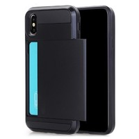 Apple Iphone X Hybrid telefoonhoesje kaarthouder - Zwart