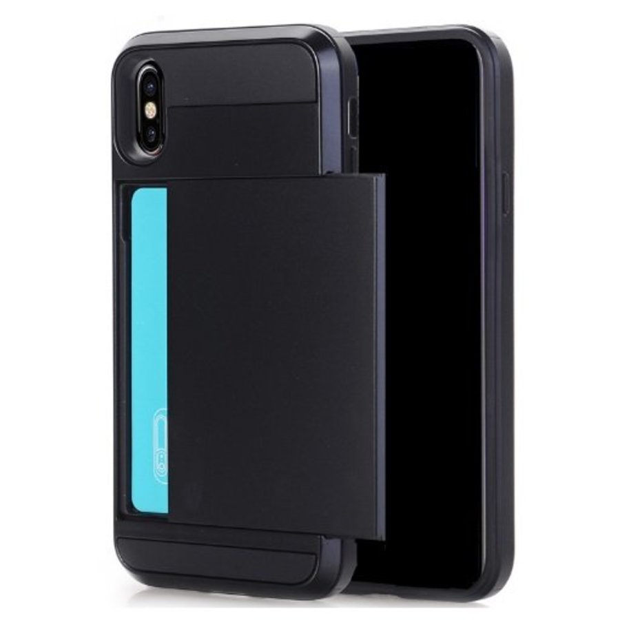 Apple Iphone X Hybrid telefoonhoesje kaarthouder - Zwart-1