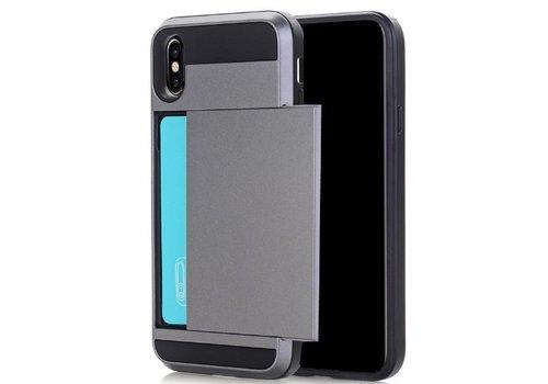 Apple Iphone X Hybrid telefoonhoesje kaarthouder - Grijs