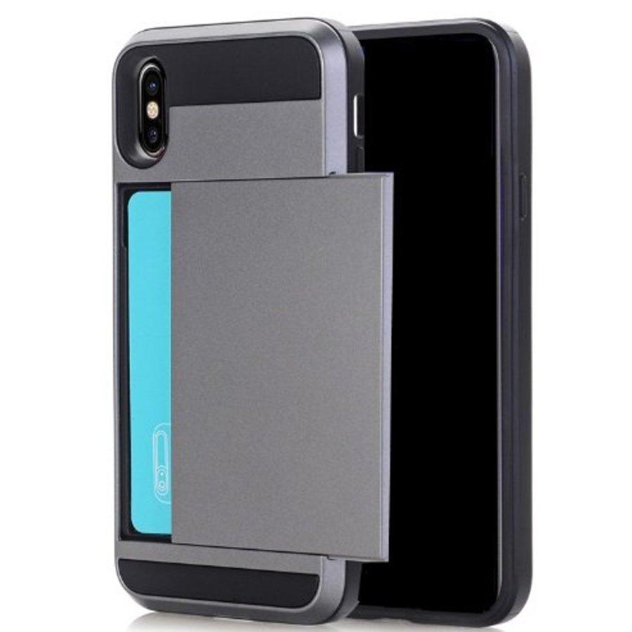Apple Iphone X Hybrid telefoonhoesje kaarthouder - Grijs-1