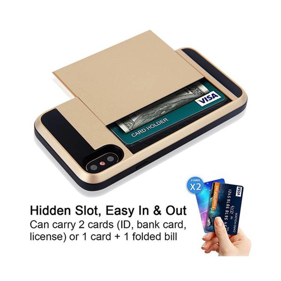 Apple Iphone X Hybrid telefoonhoesje kaarthouder - Goud-2