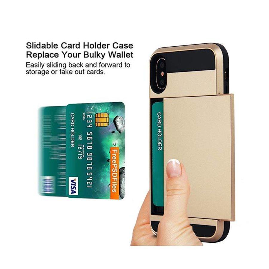 Apple Iphone X Hybrid telefoonhoesje kaarthouder - Goud-3