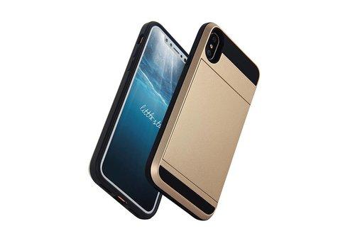 Apple Iphone X Hybrid telefoonhoesje kaarthouder - Goud