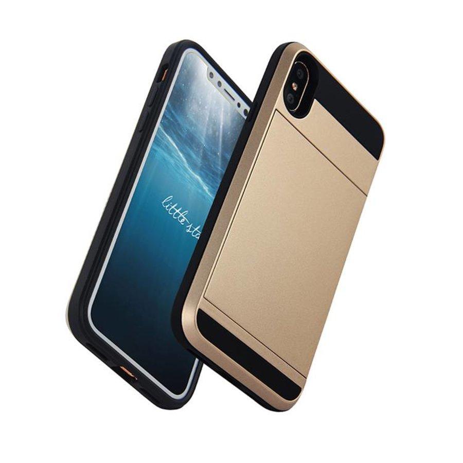 Apple Iphone X Hybrid telefoonhoesje kaarthouder - Goud-1