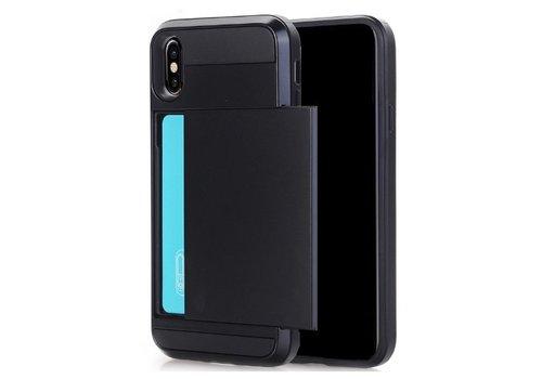 Apple Iphone XS Hybrid telefoonhoesje kaarthouder - Zwart