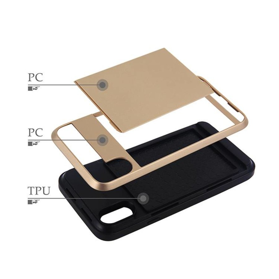 Apple Iphone XS Hybrid telefoonhoesje kaarthouder - Goud-5
