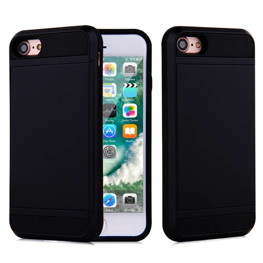 Apple Iphone 8 Hybrid telefoonhoesje kaarthouder - Zwart-1