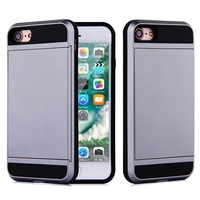 Apple Iphone 8 Hybrid telefoonhoesje kaarthouder - Grijs