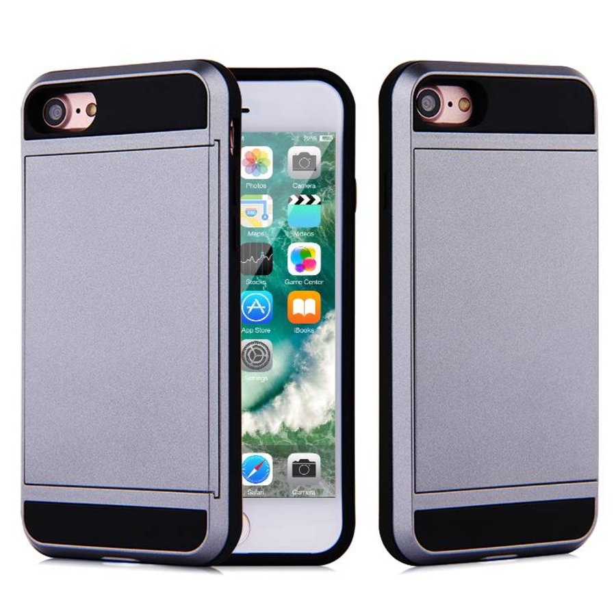 Apple Iphone 8 Hybrid telefoonhoesje kaarthouder - Grijs-1