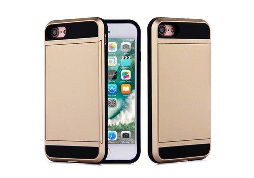 Apple Iphone 8 Hybrid telefoonhoesje kaarthouder - Goud