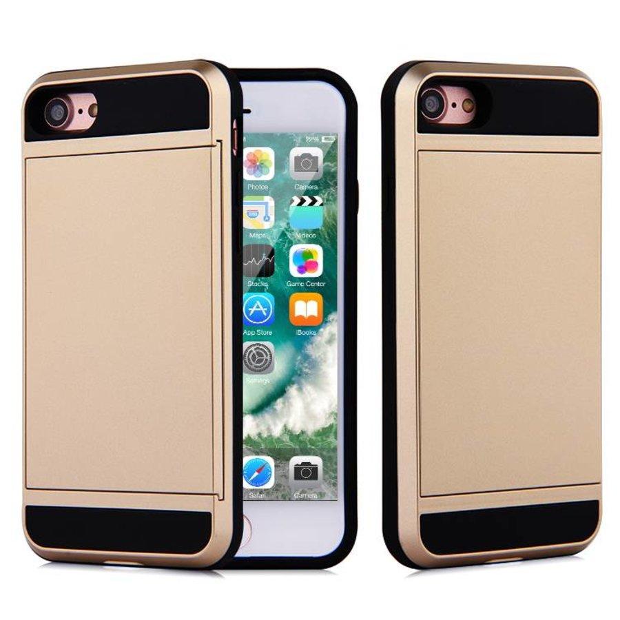 Apple Iphone 8 Hybrid telefoonhoesje kaarthouder - Goud-1