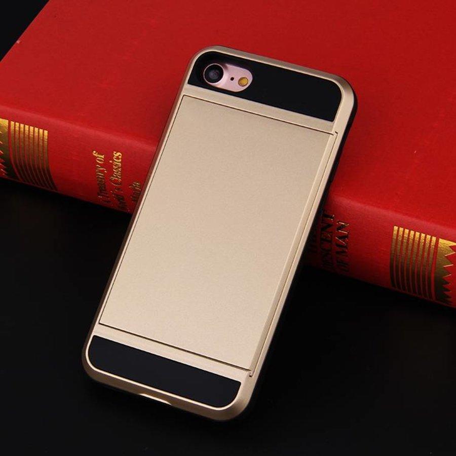 Apple Iphone 8 Hybrid telefoonhoesje kaarthouder - Goud-2