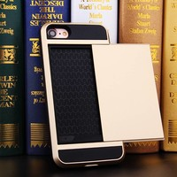 thumb-Apple Iphone 8 Hybrid telefoonhoesje kaarthouder - Goud-3