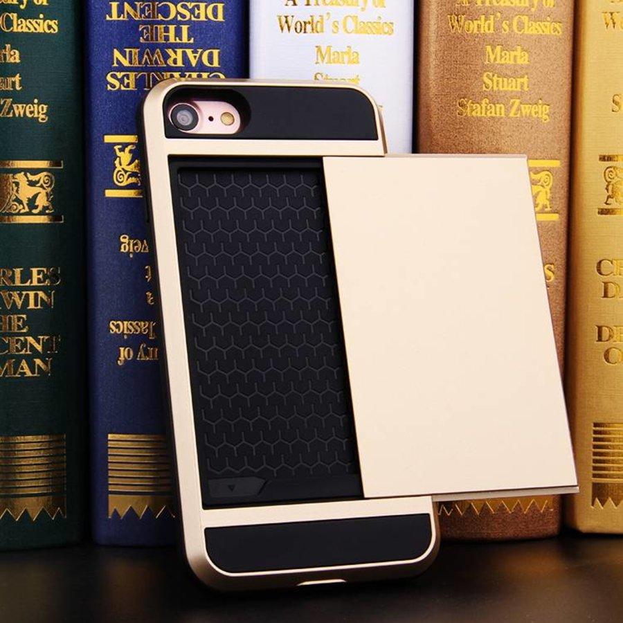 Apple Iphone 8 Hybrid telefoonhoesje kaarthouder - Goud-3
