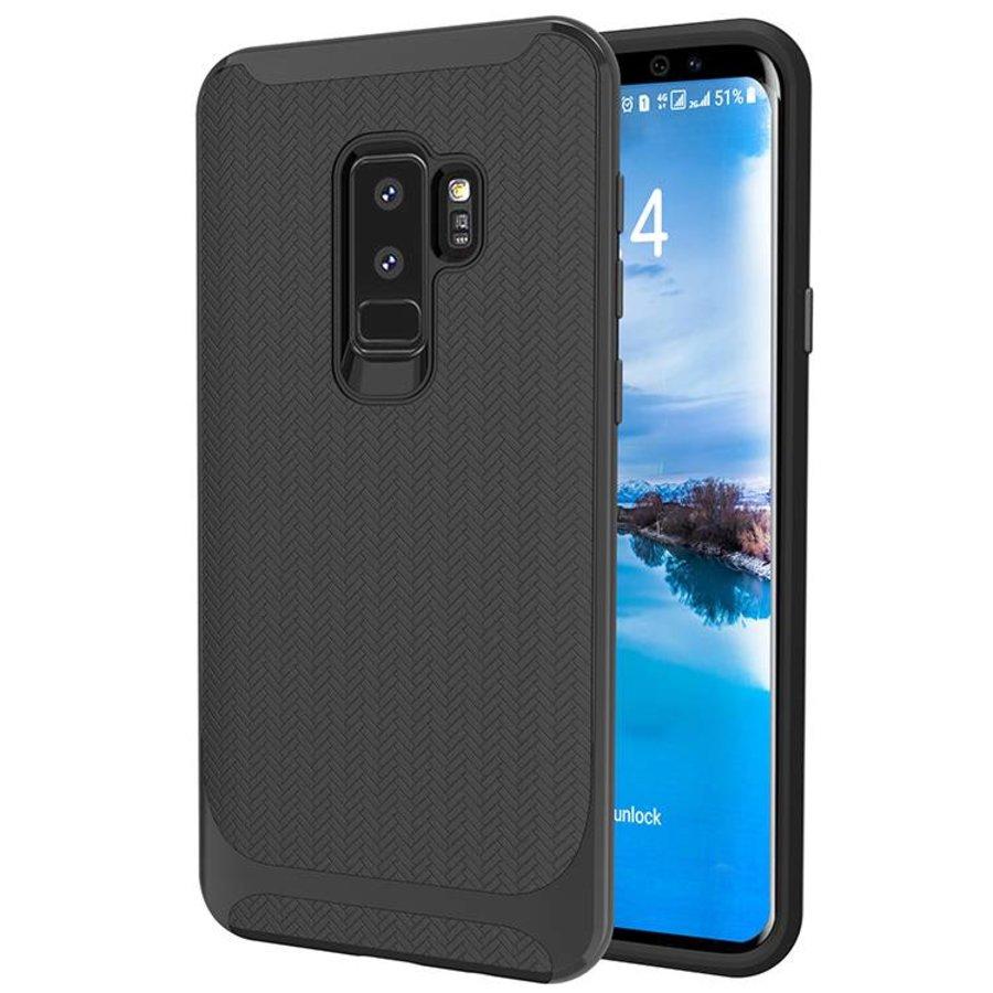 Samsung S9 Plus slim carbon hybrid telefoonhoesje - Zwart-1