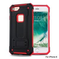 thumb-Apple Iphone 8 hybrid Kickstand telefoonhoesje - Zwart rood-1