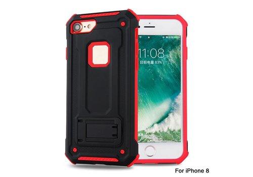 Apple Iphone 8 hybrid Kickstand telefoonhoesje - Zwart rood