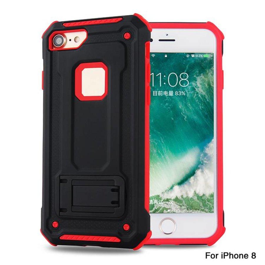 Apple Iphone 8 hybrid Kickstand telefoonhoesje - Zwart rood-1