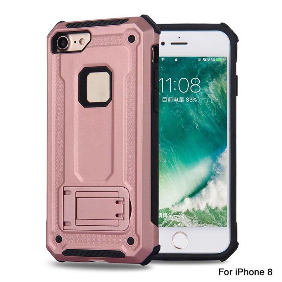 Apple Iphone 8 hybrid kickstand telefoonhoesje - Roze goud-1