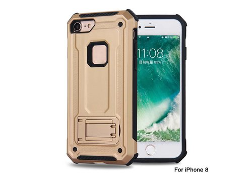 Apple Iphone 8 hybrid kickstand telefoonhoesje - Goud
