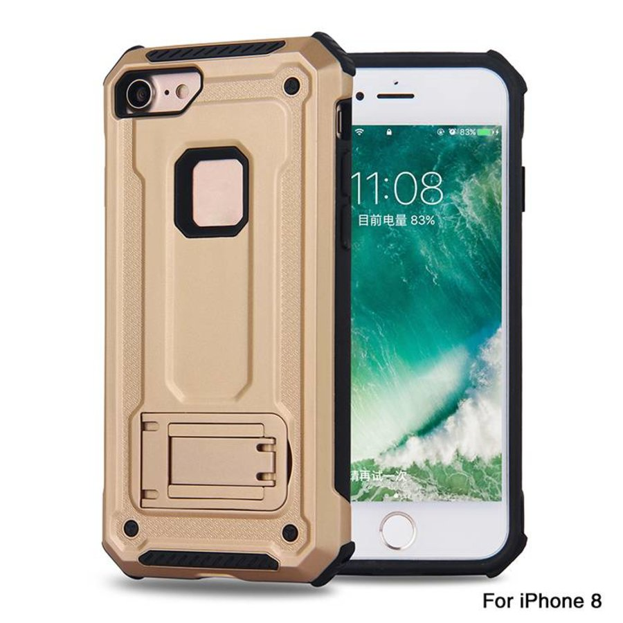 Apple Iphone 8 hybrid kickstand telefoonhoesje - Goud-1