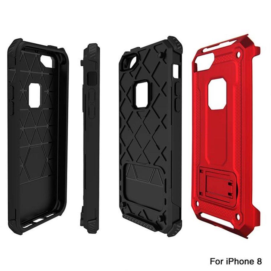 Apple Iphone 8 hybrid kickstand telefoonhoesje - Rood-3