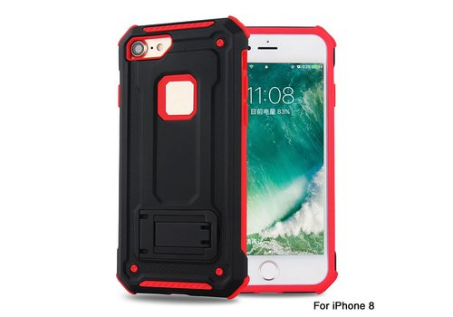 Apple Iphone 8 Plus hybrid kickstand telefoonhoesje - Zwart rood