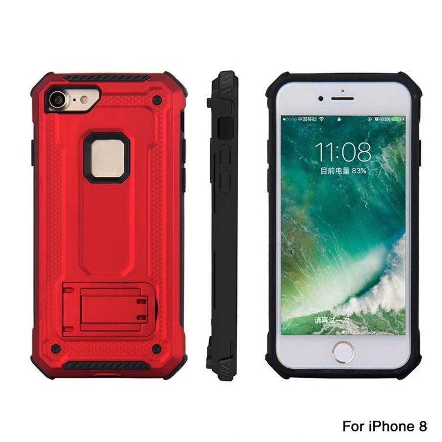 Apple Iphone 8 Plus hybrid kickstand telefoonhoesje - Rood-5