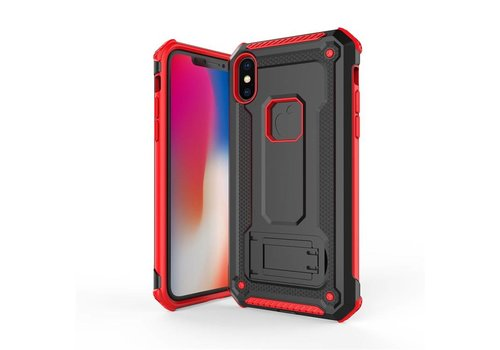 Apple Iphone x hybrid kickstand telefoonhoesje - Zwart rood