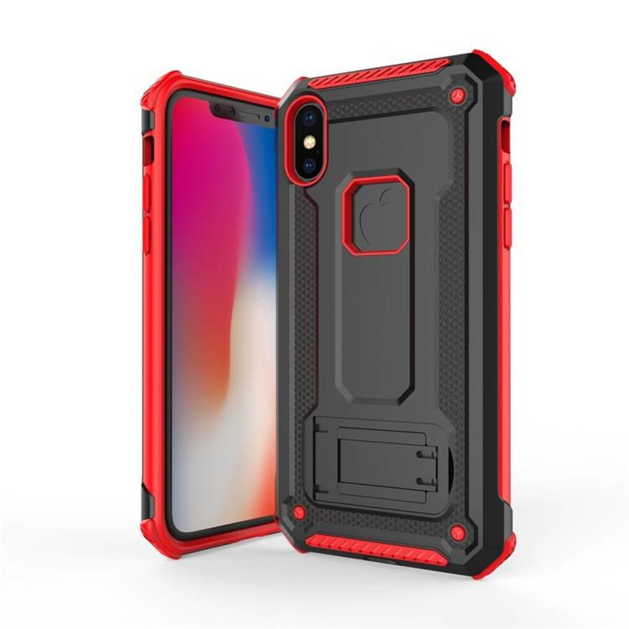 Apple Iphone x hybrid kickstand telefoonhoesje - Zwart rood-1