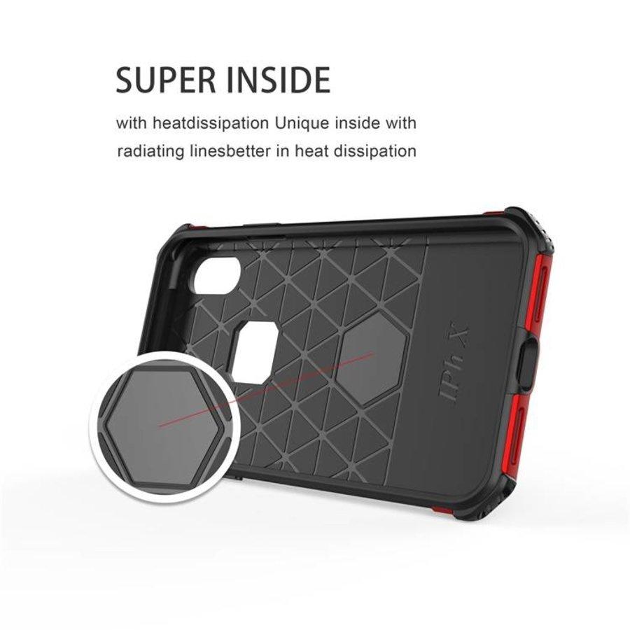 Apple Iphone x hybrid kickstand telefoonhoesje - Zwart rood-2