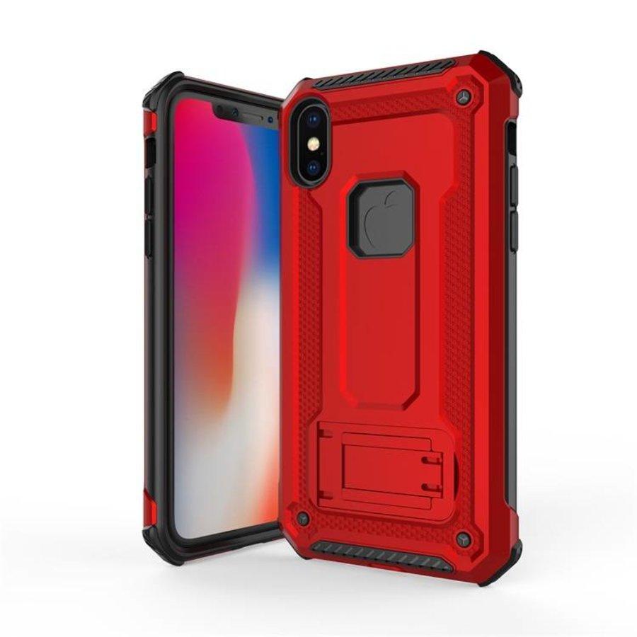 Apple Iphone X hybrid kickstand telefoonhoesje - Rood-1