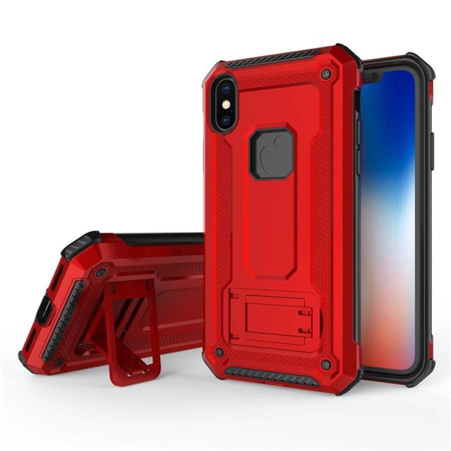 Apple Iphone X hybrid kickstand telefoonhoesje - Rood-3