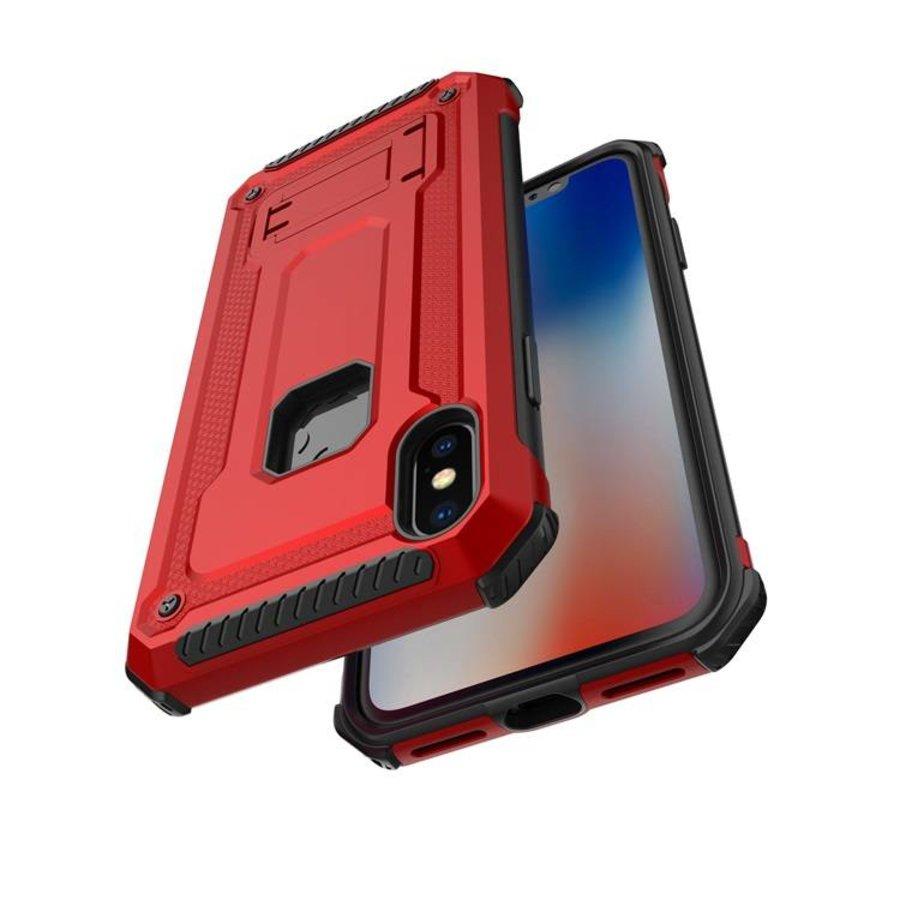 Apple Iphone X hybrid kickstand telefoonhoesje - Rood-4
