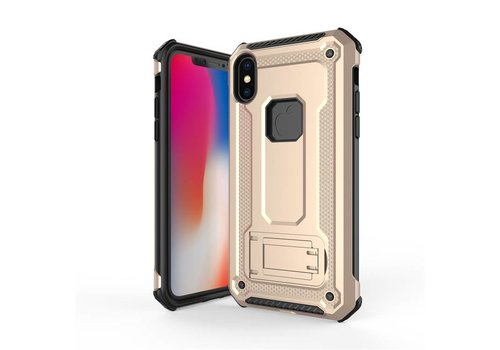 Apple Iphone X hybrid kickstand telefoonhoesje - Goud