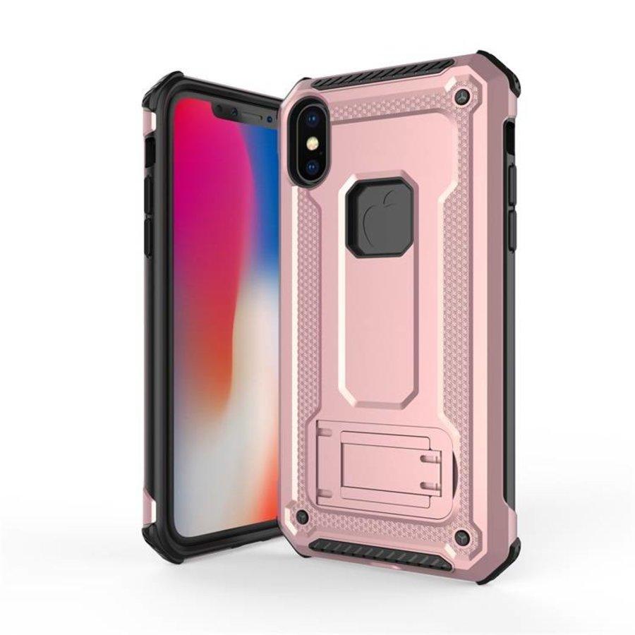 Apple Iphone XS hybrid kickstand telefoonhoesje - Roze goud-1