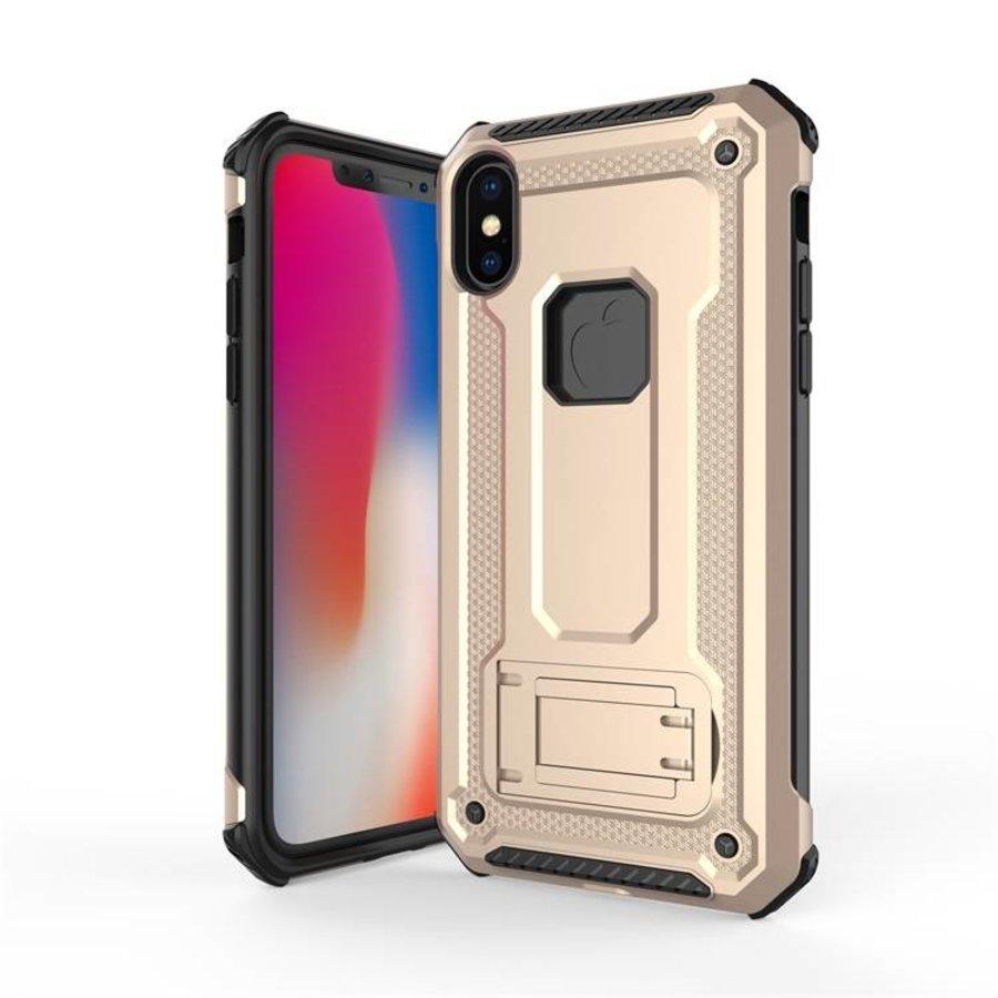 Apple Iphone XS hybrid kickstand telefoonhoesje - Goud-1