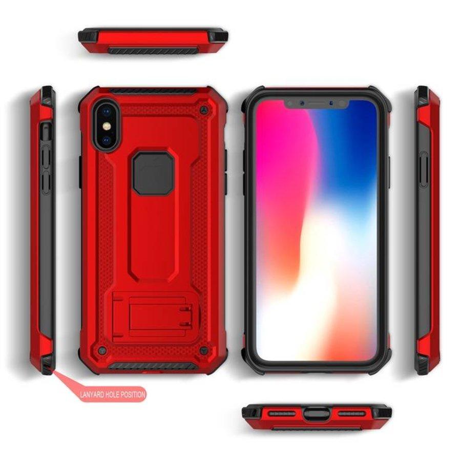 Apple Iphone XS Max hybrid kickstand telefoonhoesje - Rood-2