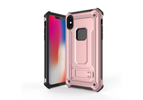 Apple Iphone XS Max hybrid kickstand telefoonhoesje - Roze goud