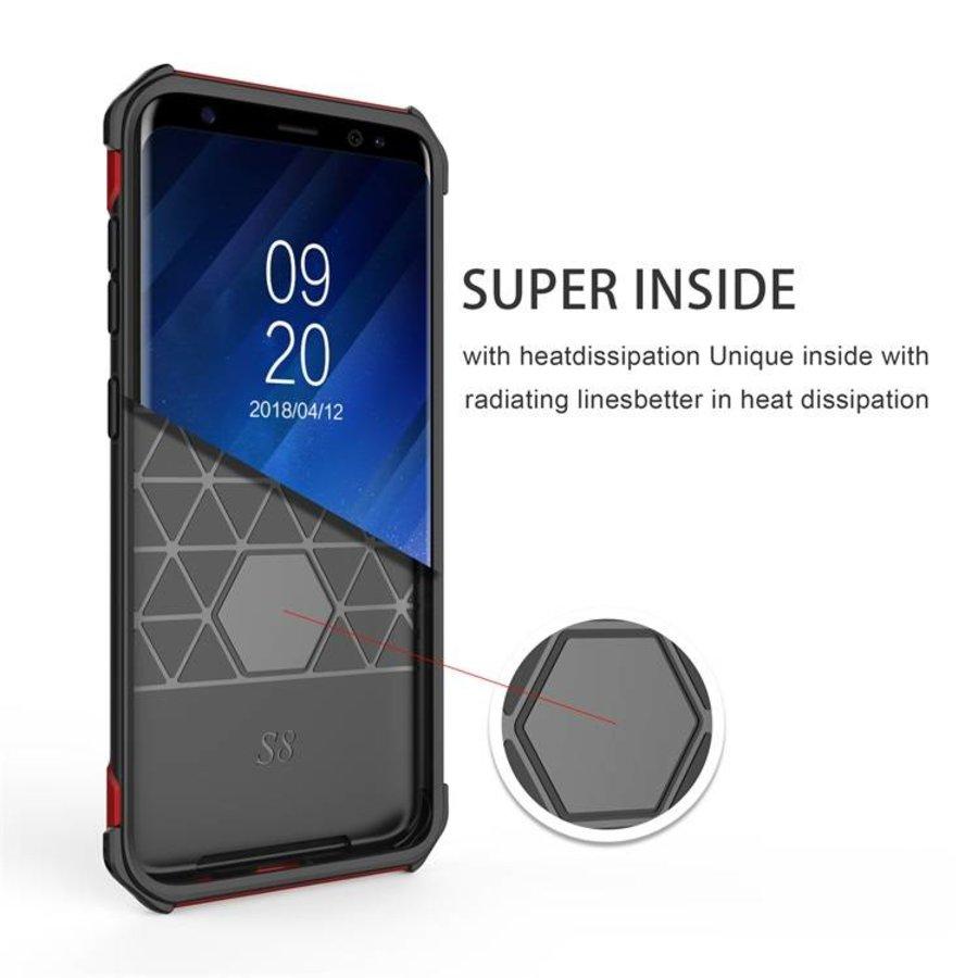 Samsung S8 hybrid kickstand telefoonhoesje - Zwart rood-2